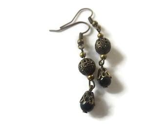 Black and Filigree Bead Earrings