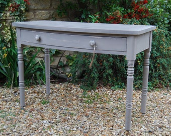 Period, solid wood, bow fronted console table with drawer, hand painted & distressed