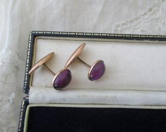 Antique cufflinks  amethyst glass