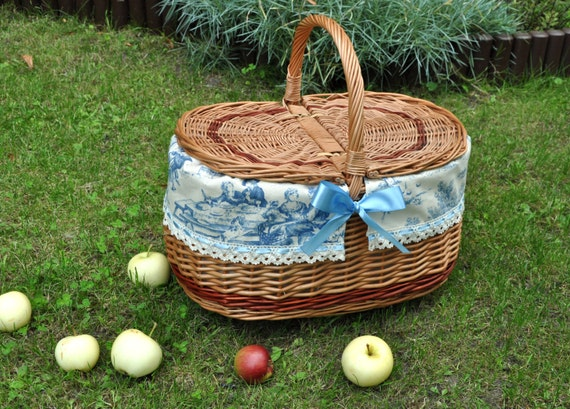 Wedding Gift Picnic Baskets : Picnic basket, couples gift, gift for wedding, toile de jouy basket ...