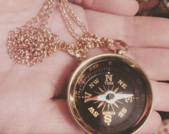 """Necklace, """"GET LOST"""", compass, compass, gold"""