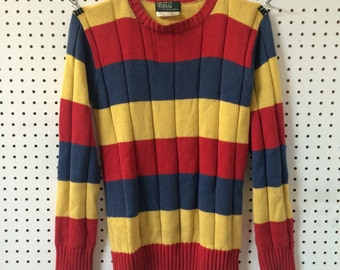 Vintage Striped Primary Colour Polo Sweater