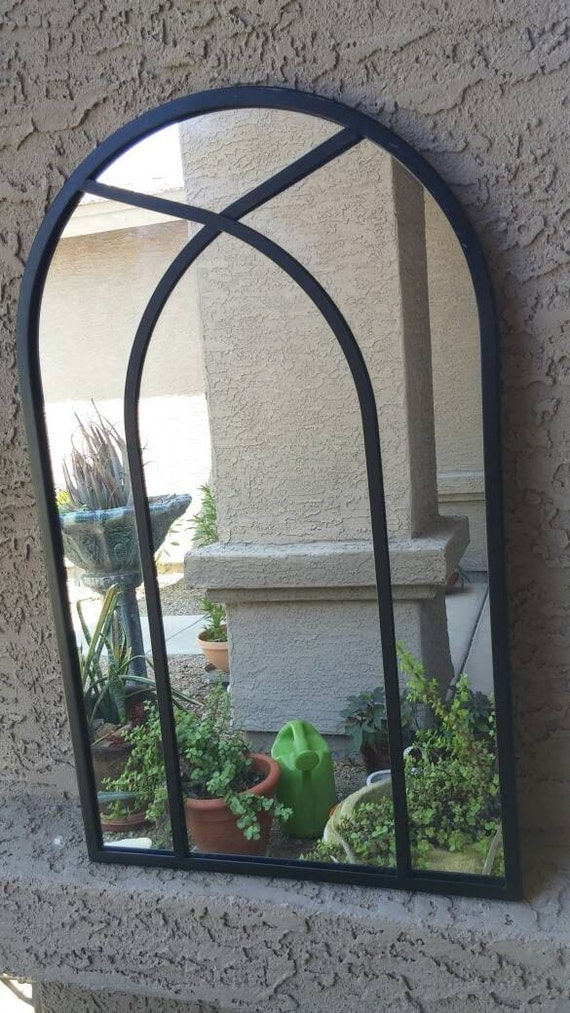 Vintage black iron arched 25 inch mirror rustic wall mounted for Mirror 40cm wide