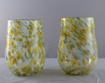 Blown Glass Tumblers - Yellow, Blue, Grey Mix