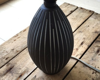 vintage lamp base mid century ostergaard danish black white art pottery retro mid century home