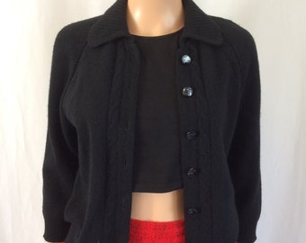"1950s Black Lambswool/ Angora Cardigan by ""Debonair"" Sz. 36"