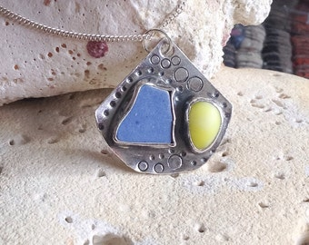Blue and yellow sea glass pendant on sterling silver chain - sea glass - sea ceramic - natural jewellery - gift for her
