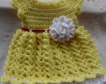 Baby Dress, Yellow & White Infant Dress, Coming Home Newborn Dress, Handmade Baby Gift, Crochet Infant Yellow and White Baby Dress, Newborn