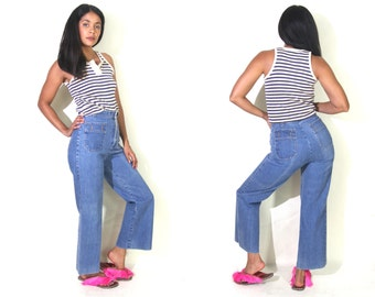 Vintage 70s High Waist Cropped Flood Length Straight Leg Blue Jeans Denim