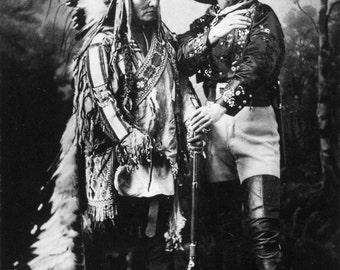 Sitting Bull and Buffalo Bill 1885 Old Photo Print