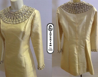 Vintage Women's Dress 1960's Off White Cream Douponi Silk Party Dress with Cleopatra Beaded Rhinestone Collar and Sleeves Lined No. 10