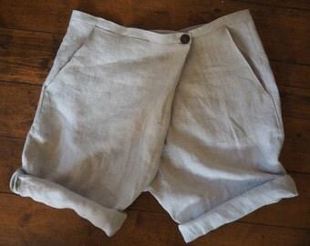 Handmade Linen Shorts for Women Elegant Relaxed Boho 36-50 sizes