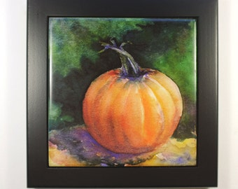 Pumpkin Tile Framed Tile Trivet Original Watercolor