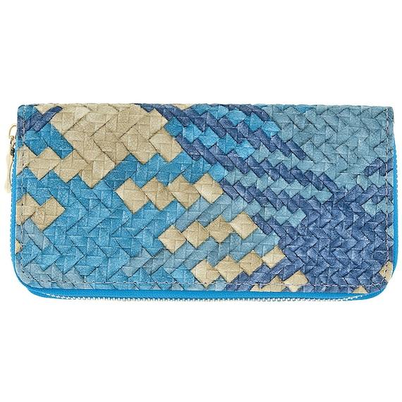 Mesh pattern wallet clutch bag pu leather women wallet