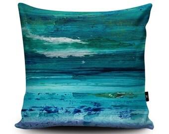 Turquoise Cushion, Turquoise Pillow, Seascape cushion, Blue pillow case, Seaside decoration, Nautical Homeware, 45cm Faux Suede Cushion
