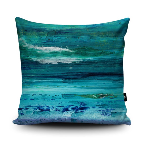 Blue Microsuede Throw Pillows : Turquoise Cushion Turquoise Pillow Blue cushion Seascape