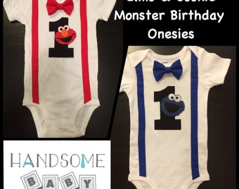 Twins Cookie Monster & Elmo First Birthday Bow tie Onesies