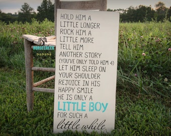 Nursery Wall Decor, 12x24, Little Boy, Poem