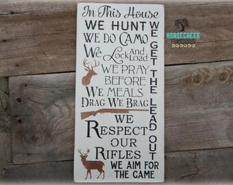 Deer Hunting Sign, We PRAY, Hunting Sign, Rustic