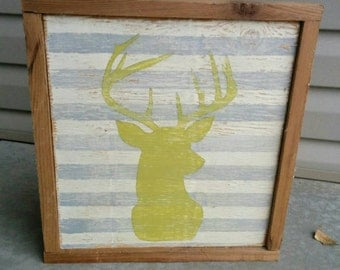 Stag head Handpainted Rustic Sign