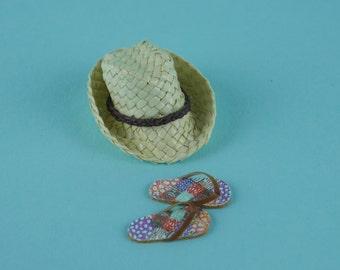 Mens Cream Straw Hat and Flip Flops - 1:12 or 1/12 Scale Dollhouse Miniatures, Sun Hat, Straw, Panama, Beach, Kiosk, Shop, Vacation, Garden