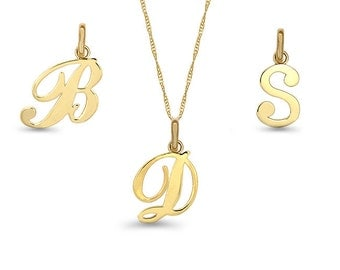 "14k solid gold initial pendant on an 18"" solid gold chain."
