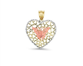 14kt Tricolor Gold Butterfly Heart Pendant