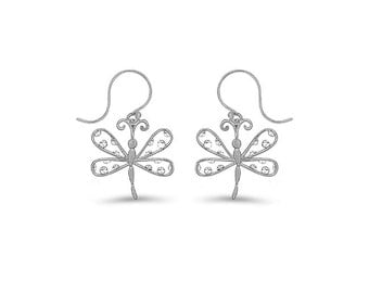 Sterling Silver Dragonfly Earrings