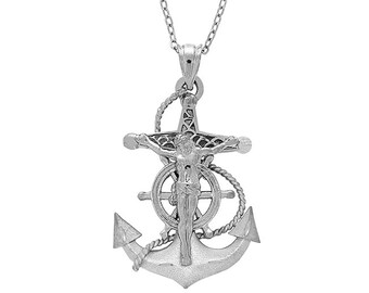 Sterling Silver Anchor, Mariner Crucifix Pendant, Crucifix Pendant, Crucifix Jewelry, Mariner Jewelry, Religious Jewelry, Mariner