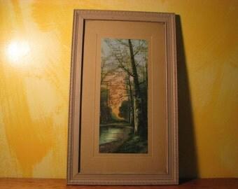 Vintage Framed Print of Birch Trees