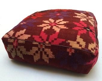 """Vintage Plaza otomano Kilim PUF 24"""" cuadrados PUF otomano almohada almohada marroquí hecha a mano Kelim kilim marroquí PUF otomano, PUF kilim"""