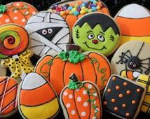 Halloween Sugar Cookies - Pumpkins, Candy Corn, Mummies, fall cookies, mummy cookies, custom cookies, Halloween cookie favors