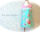 Girls Easter Dress, Toddlers Easter Dress, Special Occasions, Sunday, Wedding, Pink and Aqua Floral, Sizes 2T - 6 by 8th Day Studio