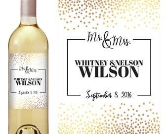 Wedding Wine Labels - Gold Confetti Wedding Wine Label - Custom Wine Label - Personalized Wine Label - Wedding Wine Bottle Label