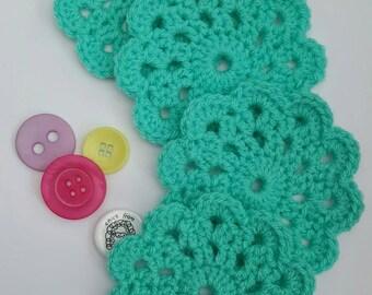 Crocheted Coasters, set of 4, Aqua, Turquoise, home decor, housewarming gift , new home, mug rug, drinks coaster, coaster set, drink mat