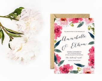 Floral Wedding Invitation, Watercolor with Hand Lettered Calligraphy