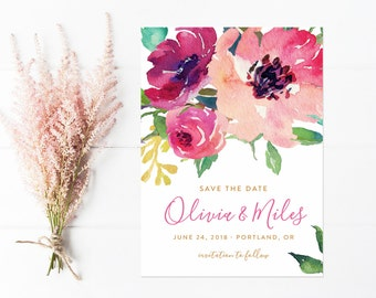Save The Date, Pink Watercolor Flowers, Save the Date with Vintage Painted Florals