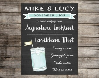 Chalkboard Signature Drink Sign // Custom Watercolor Drink Print // Wedding Sign