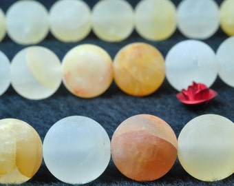 37 pcs of  Natural Yellow Quartz, crystal matte round beads in 10mm