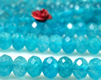 92 pcs of Natural Dyed Blue Jade faceted rondelle beads in 4x6mm