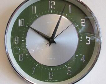 1970s Green Metamec Vintage Electric Wall Clock