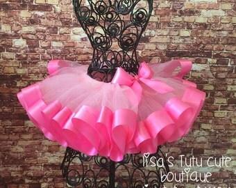 Pink tutu, pink tutu toddler, smash cake tutu, pink birthday tutu, pink tutu skirt, ribbon trimmed tutu, pink ribbon trimmed tutu