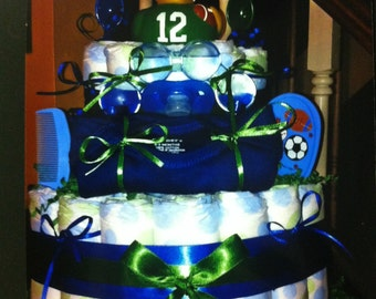 2 tier diaper cake with goodies