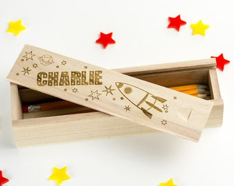 Wooden Pencil Box - Space Rockets - Laser Engraved Personalized Pencil Case - Back To School - School Supplies - Gifts For Children - LC018