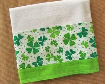 St Patrick's Day Flour Sack Towel - Kitchen Towel - Lint Free Tea Towels - Fabric Trimmed Towel - Decorative Embellished Towel - Shamrocks