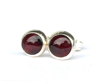 Red Garnet Stud Earrings .. 6mm Round Studs .. Garnet Earrings .. Silver Studs .. Red Garnet Jewelry
