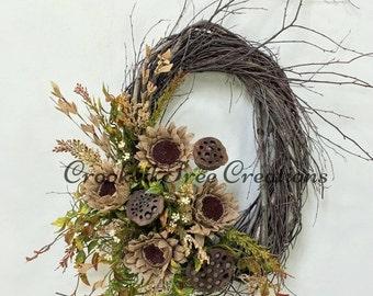 ON SALE Sunflower Wreath, Burlap Wreath, Sunflowers, Summer Wreath, Fall Wreath, Sunflower Door Decor, Rustic Wreath, Lotus Pods, Natural Wr