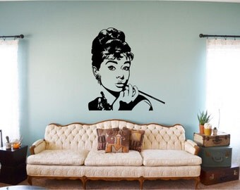 Vinyl Wall Decal for home decor Audry Hepburn