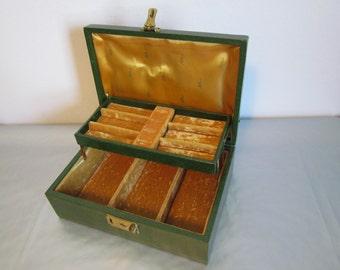 Vintage Green Jewelry Box Jewellery Jewellry Organizer Storage Vintage Gifts for Women Her