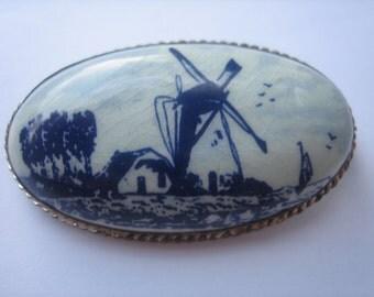 Oval vintage blue Delft brooch signed windmill scene porcelain pin